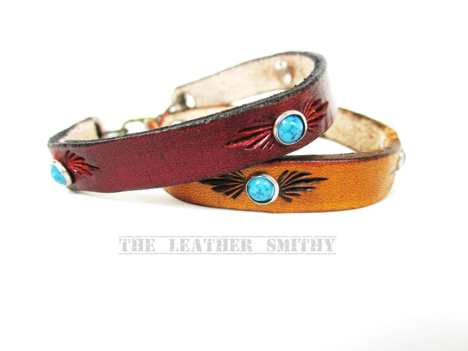 Thin leather bracelet with turquoise rivets leather cuff for Rivets for leather jewelry