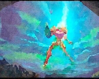Metroid series (3) digital Watercolor Poster Print Art