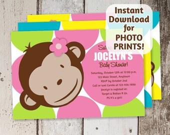 mod monkey invite  etsy, invitation samples