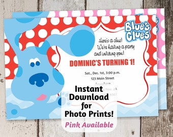 Blue's Clues Invitation for Birthday Party - Instant file download - Use invite to order photo prints or print on card stock! Blues Clues