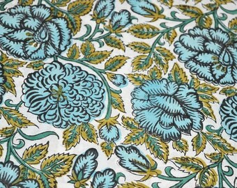 Block Printed Soft Cotton Fabric - Indian Cotton Fabric in Mint, Olive Green and Dark Green By Yard - Handprinted Indian Fabric