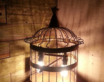 """Antique Vintage Large 14"""" Twisted Wire Beehive Shaped Bird Cage Hendryx Style wired with 2 pendant light"""