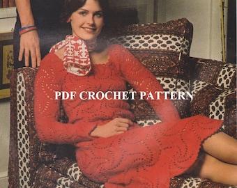 Vintage 1970's Ladies Pinwheel Motif Red Dress, Crochet PDF Pattern