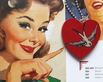Old School SWALLOW bird Tattoo style Heart Necklace - hand painted wooden heart with swallow bird