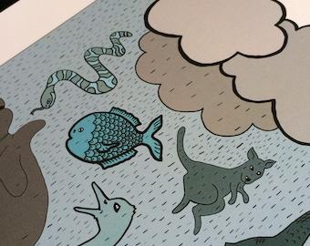 Raining Animals Illustration