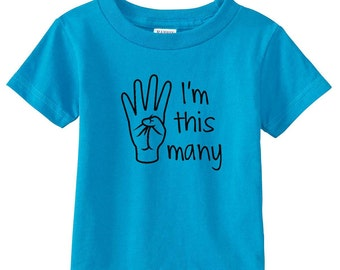 I'm This Many Four Toddler Shirt I'm this many 4 T-Shirt Children Turning 4 Birthday Gift for 4 Year Old Birthday Gift Idea