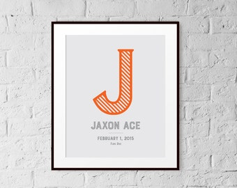 Kids Wall Art - Personalized - Art Print - 8x10 - Home Decor - Gift - Striped Letter - Customizable