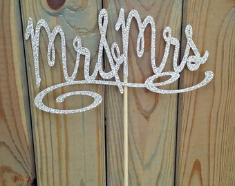Mr and Mrs Champagne Glitter Cake Topper - party supplies - cake decorations - wedding - reception