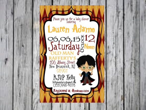 Harry Potter Baby Shower Invitation Harry Potter Baby Shower