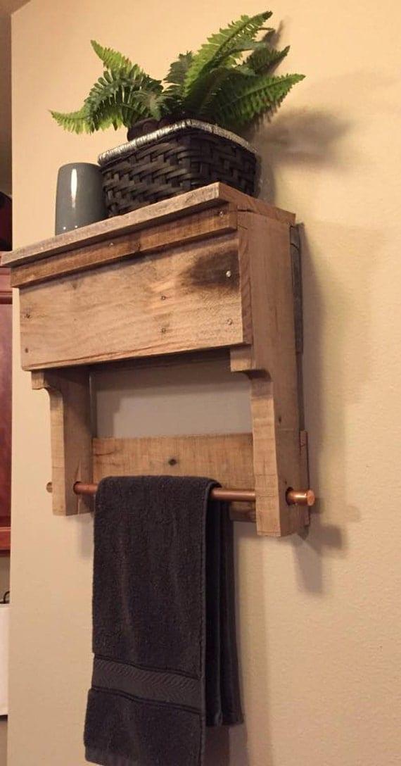 Rustic Wood Pallet Furniture Bathroom Shelf Wall Shelving Hand