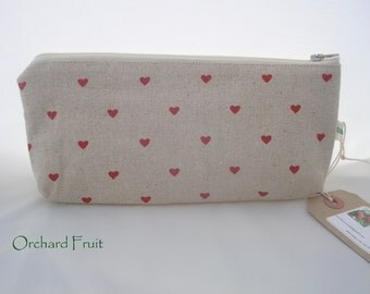 Natural Linen zipped pouch - pencil case - choose from flowers, hearts, strawberries!