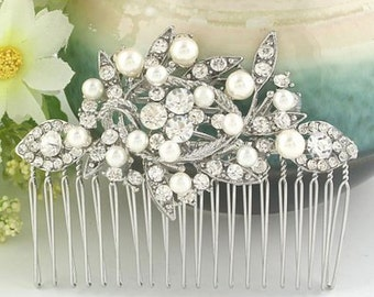 Pearl and crysta  Silver hair comb -  Bridal Flower Bouquette Hair Comb  - Clear Austrian Crystal Hair Comb