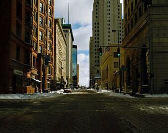 Toledo, Ohio, City, Skyscraper, Snow, Street, cold, Street light, Winter