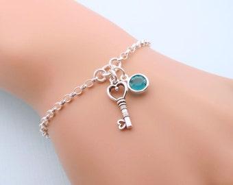 Personalized Key Bracelet, Sterling Silver Key Jewelry, Custom Birthstone Bracelet, Key Charm Bracelet, Gift For Her