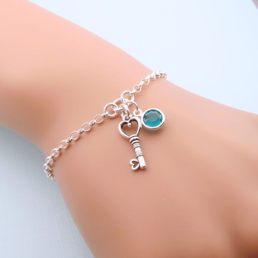 personalized key bracelet sterling silver key jewelry custom