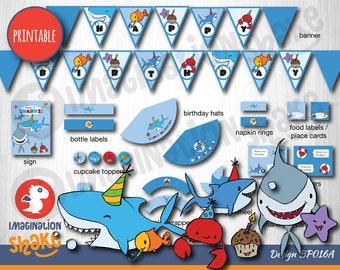 Shark Ocean Animals Birthday Party Package PRINTABLE / Birthday Printouts / Birthday Games / Banner / Sealife Birthday / Party Printable