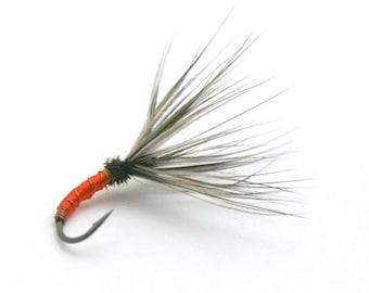 Fly FIshing Flies - Orange Takayama Sakasa Kebari Tenkara Flies |   3 X fishing flies