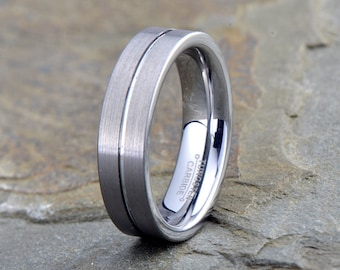 Tungsten Wedding Band,Tungsten Wedding Ring, Brushed, Grooved on the center, Handmade, Anniversary Ring, Engagement Band, His,Hers, 6mm ring