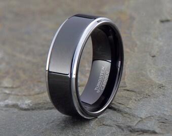 Black Tungsten Wedding Band, Black Tungsten Ring ,Men's Tungsten Wedding Band, Ladies Tungsten Wedding Band, Anniversary Ring, silver edge