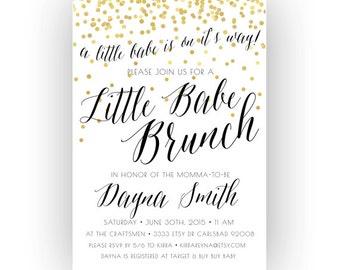Baby Shower Brunch Invitation, Little Babe, Unique, Boho, Gold Glitter, Printable (204)