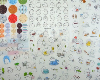 SIX sheets Korean Molang mochi bunny rabbit stickers - kawaii chubby white bunnies - emoticon - cupcakes - tea - French macaron - dessert