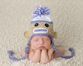 crochet sock monkey hat - newborn sock monkey - newborn hat - toddler hat - shower gift - photo prop
