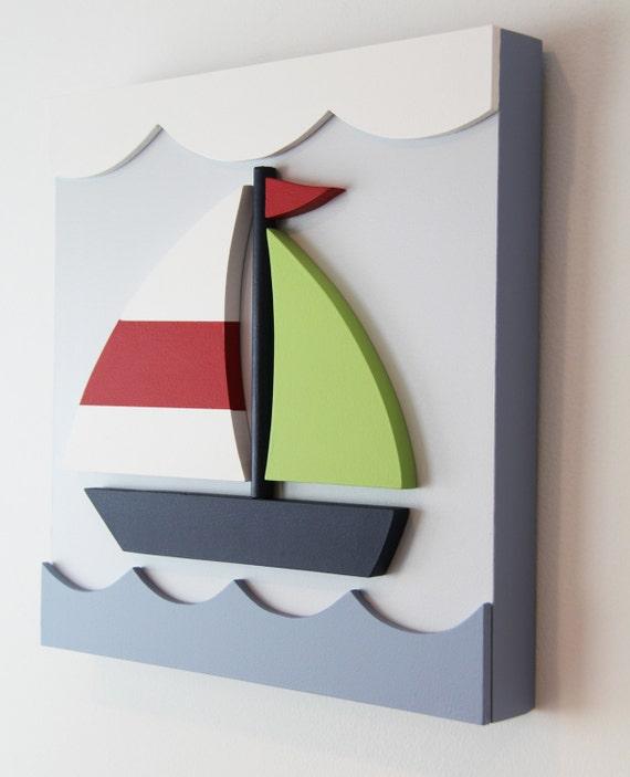 Wood Sailboat Wall Decor : D nautical wood sailboat wall art for kids rooms