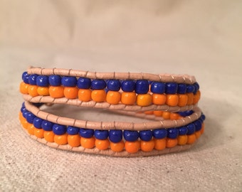 Blue and Orange Wrap Bracelet