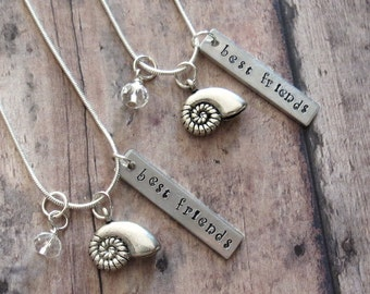 Seashell Friendship Necklace For 2, Hand Stamped, Can Be Personalized With Friends Initials, Friend Gift, Birthday, Nautilus, Beach