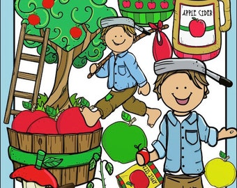 Johnny Appleseed Apple Clip Art Set - Chirp Graphics