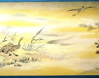 Japanese antique woodblock print, Kano Eitoku, Large size.