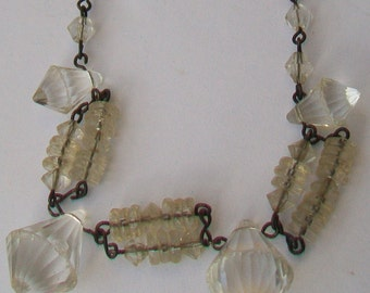 Art Deco Crystal Glass Bead Necklace