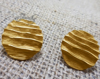 Gold Rippled Button Earrings