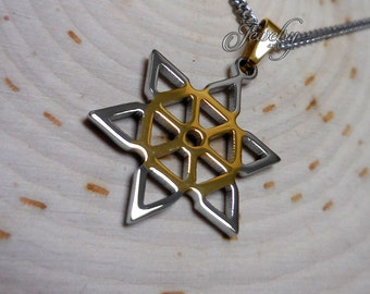 Gold & Silver Snowflake-Shaped Pendant Necklace