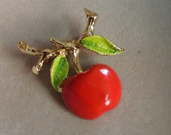 Cute Gerry Jewelry Red Cherry Brooch Gerry