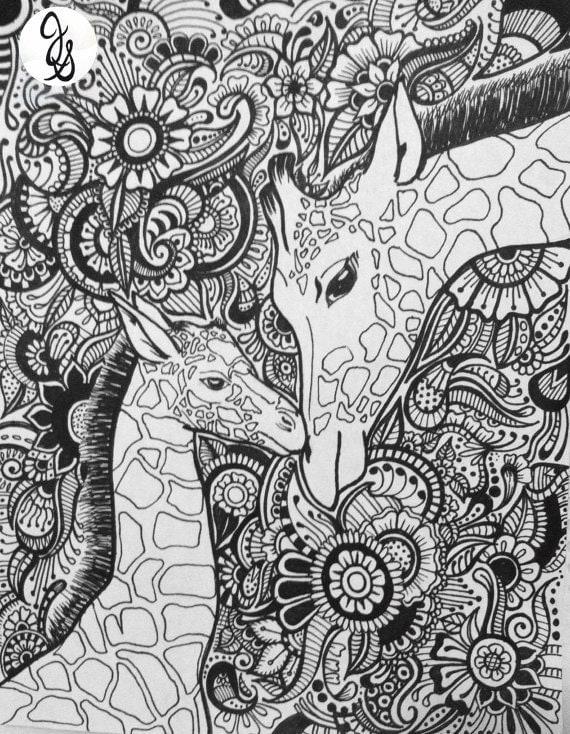 Giraffe floral design for Giraffe mandala coloring pages