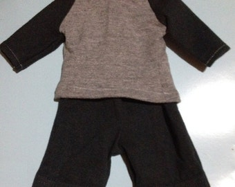 Boy doll clothes American Made boy doll clothes blue and grey raglan shirt and shorts