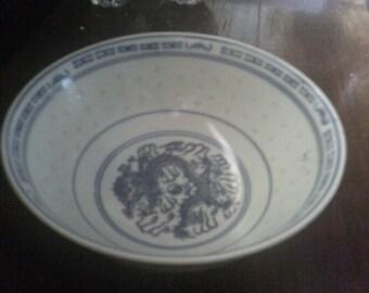 Chinese Blue Dragon Serving Bowl