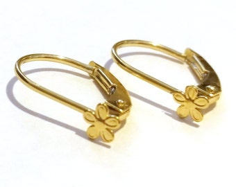 14K Solid Yellow Gold Leverback Earrings with a flower ornament