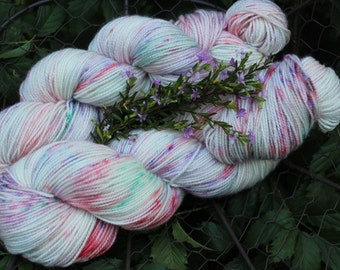 Rosebuds and Lavender Hand Painted Sock Yarn