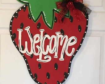 Door Hanger - Wood Cut Out - Strawberry. This adorable Strawberry can be changed to better meet your style!