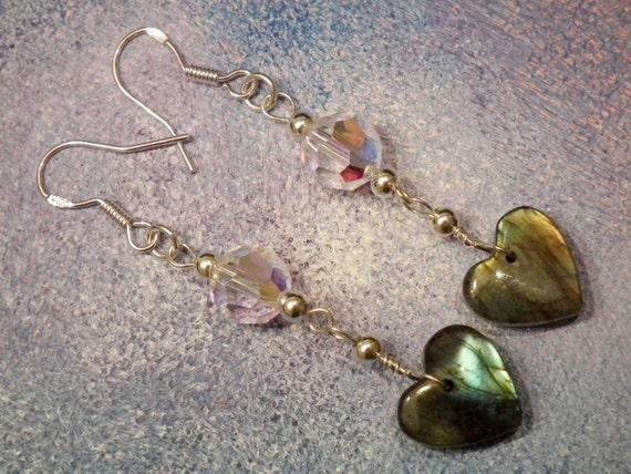 925S Silver and Labradorite & Swarovski Earrings