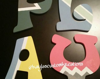 Room Decor - playroom Decor, hand painted letters