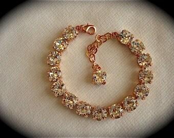 Swarovski Rose Gold Clear Crystal Tennis Bracelet, 8mm Rose gold bracelet, wedding bracelet, bridesmaid gift, bridesmaid bracelet, Bracelet