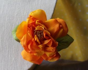 Large Orange Flower with Light Green Leaves Hair Clip