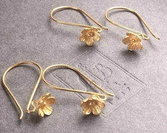 Flower Ear Wire Vermeil Bali Flower Blossom French Hook Earring 24k Gold Vermeil One Pair