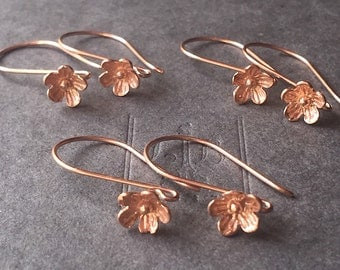 Ear Wire Rose Gold Vermeil Bali Flower Blossom French Hook Earring Rose Gold Vermeil One Pair