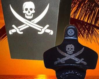 Engraved Combo Set - Pirate Wall Mount Bottle Opener & Cap Catcher - Tiki Kev
