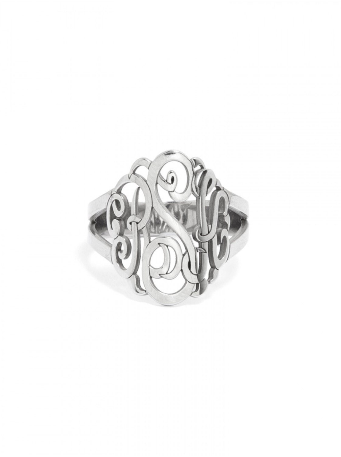 monogram ring in sterling silver initials monogram by