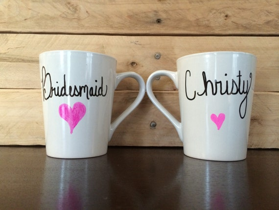 ... Maid-of-Honor/ Matron-of-Honor Mug Hand Painted Attendant/ Bridal Gift